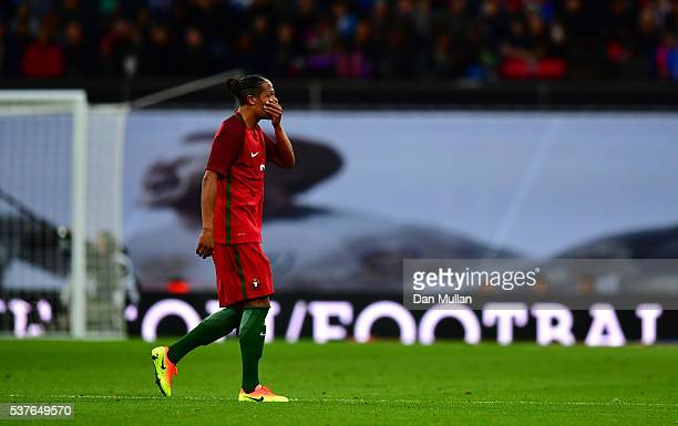Bruno Alves of Portugal reacts as he is sent off during the international friendly match between England and Portugal at Wembley Stadium on June 2...