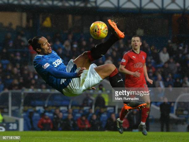 Bruno Alves of Rangers attempts an overhead kick during the Scottish Cup Quarter Final match between Rangers and Falkirk at Ibrox Stadium on March 4...