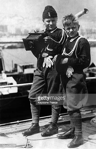 Bruno and Vittorio MUSSOLINI the sons of the Italian dictator Benito MUSSOLINI photographing the view during their visit to Italy's African colony...