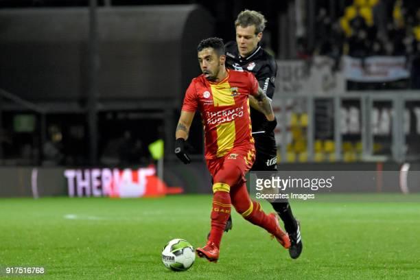 Bruno Andrade of Go Ahead Eagles Jeroen Veldmate of FC Emmen during the Dutch Jupiler League match between Go Ahead Eagles v FC Emmen at the De...