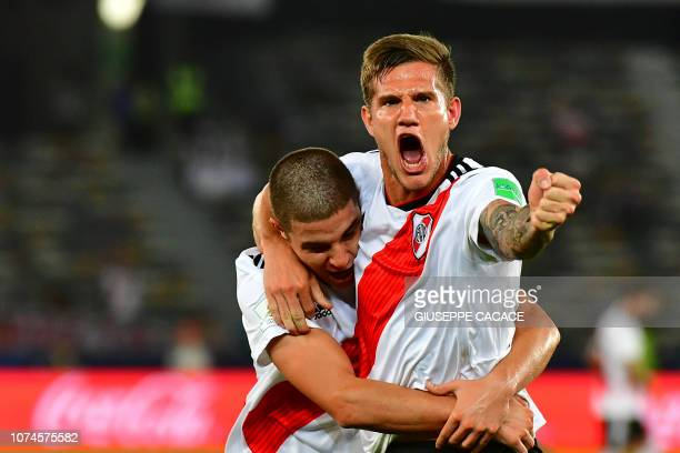 TOPSHOT Bruno Argentina's River Plate Bruno Zuculini celebrates his goal during their match for third place in the FIFA Club World Cup football...