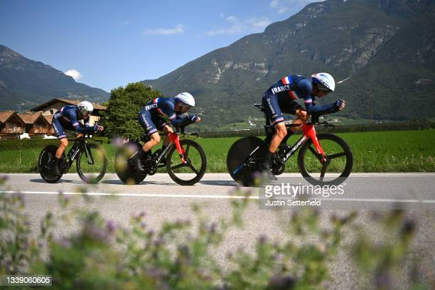 Bruno Armirail, Benjamin Thomas, Alexis Gougeard and Team France sprint during the 27th UEC Road Cycling European Championships 2021, Mixed Relay a...