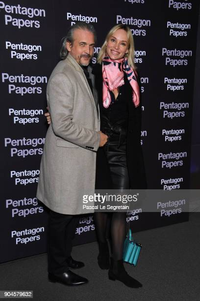 Bruno Aveillan and Inna Zobova attend 'Pentagon Papers' Premiere at Cinema UGC Normandie on January 13 2018 in Paris France