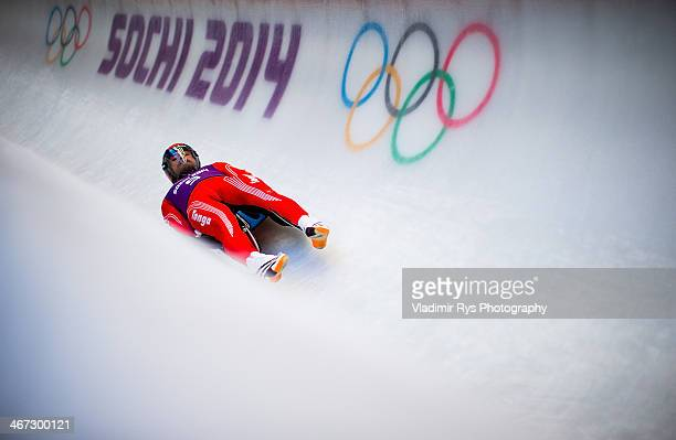 Bruno Banani of Tonga in action at luge men's singles training session at Sanki Sliding Center during previews for the Sochi 2014 Winter Olympics at...