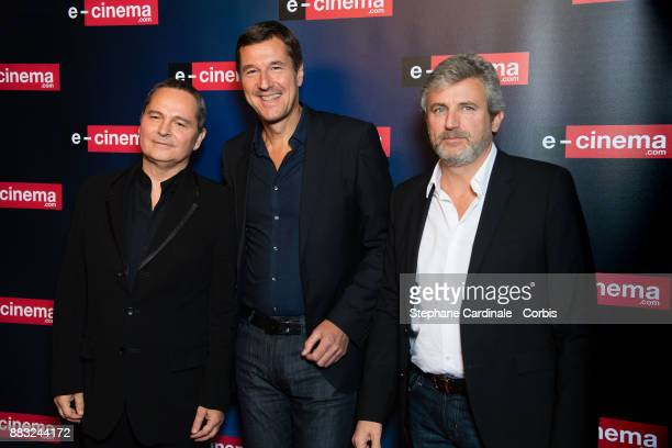 Bruno Barde Frederic Houzelle and Roland Coutas attend 'ecinemacom' Launch Party at Restaurant L'Ile on November 30 2017 in IssylesMoulineaux France