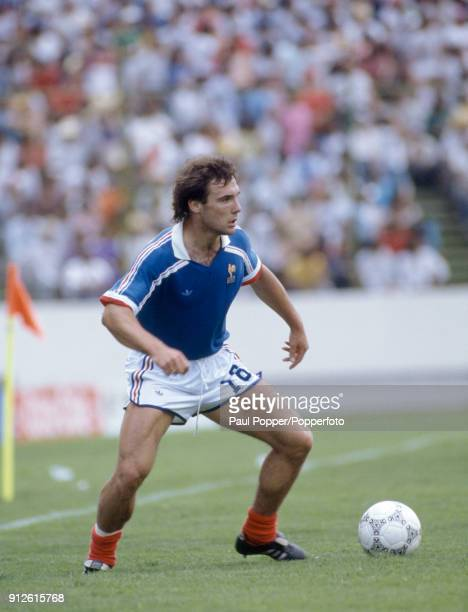 Bruno Bellone in action for France during the FIFA World Cup 3rd/4th place playoff at the Estadio Cuauhtemoc in Puebla 28th June 1986 France won 42...