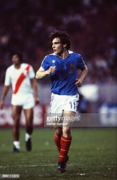 Bruno Bellone of France during the International Friendly match between France and Peru at Parc des Princes in Paris on April 28th 1982