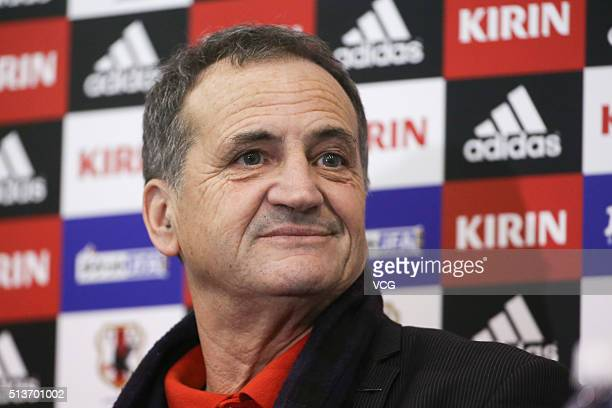 Bruno Bini, head coach of China, attends a press conference after the AFC Women's Olympic Final Qualification Round match between Japan and China at...