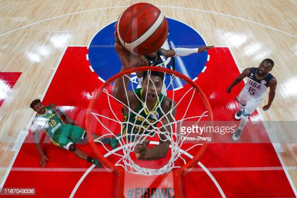 Bruno Caboclo of Brazil drives during FIBA World Cup 2019 Group K match between USA and Brazil at Shenzhen Bay Sports Centre on September 9 2019 in...