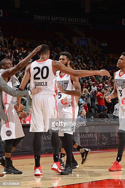 Bruno Caboclo of the Raptors 905 celebrates with players against the Maine Red Claws at the Air Canada Centre on December 11 2015 in Toronto Ontario...