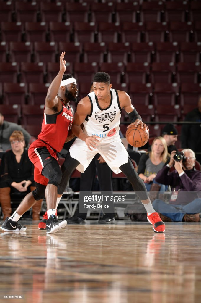 Bruno Caboclo #5 of the Raptors 905 handles the ball during the NBA G-League Showcase Game 22 between the Sioux Falls Skyforce and the Raptors 905 on January 13, 2018 at the Hershey Centre in Mississauga, Ontario Canada.