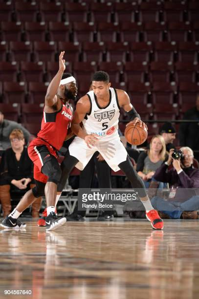 Bruno Caboclo of the Raptors 905 handles the ball during the NBA GLeague Showcase Game 22 between the Sioux Falls Skyforce and the Raptors 905 on...
