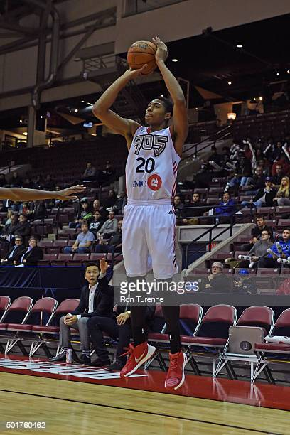 Bruno Caboclo of the Raptors 905 shoots the ball during a game against the Grand Rapids Drive at the Hershey Centre on December 16 2015 in Toronto...