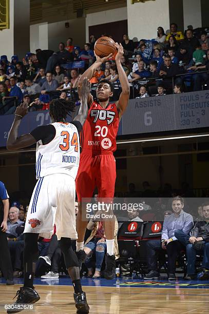 Bruno Caboclo of the Raptors 905 shoots the basketball against Maurice Ndour of the Westchester Knicks on December 23 2016 at the Westchester County...