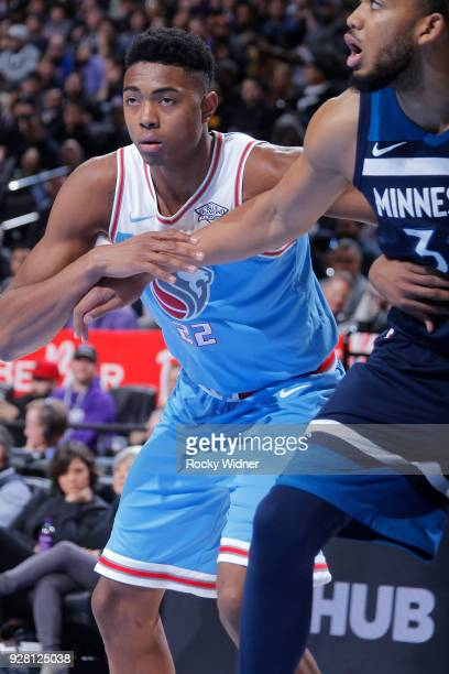 Bruno Caboclo of the Sacramento Kings battles for position againt the Minnesota Timberwolves on February 26 2018 at Golden 1 Center in Sacramento...