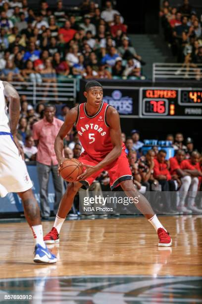 Bruno Caboclo of the Toronto Raptors handles the ball during the preseason game against the LA Clippers on October 4. 2017 at the Stan Sheriff Center...
