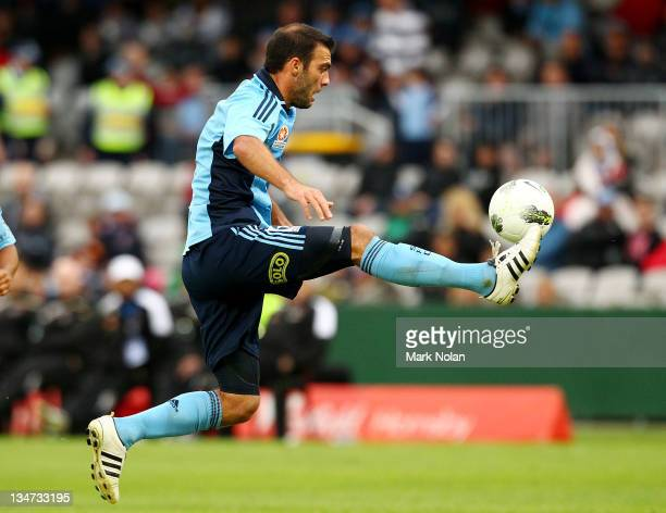 Bruno Cazarine of Sydney controls the ball during the round nine A-League match between Sydney FC and the Brisbane Roar at WIN Jubilee Stadium on...