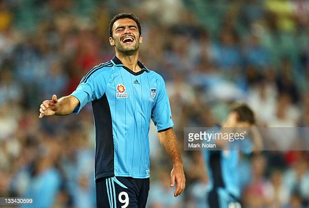 Bruno Cazarine of Sydney reacts after missing a shot on goal during the round seven A-League match between Sydney FC and the Central Coast Mariners...