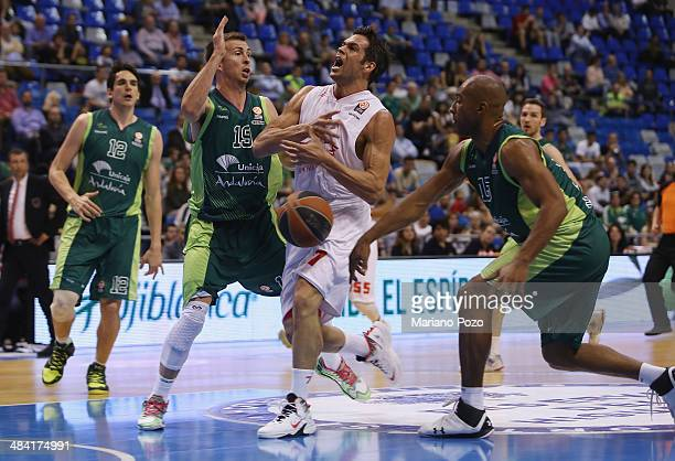 Bruno Cerella #7 of EA7 Emporio Armani Milan in action during the 20132014 Turkish Airlines Euroleague Top 16 Date 14 game between Unicaja Malaga v...
