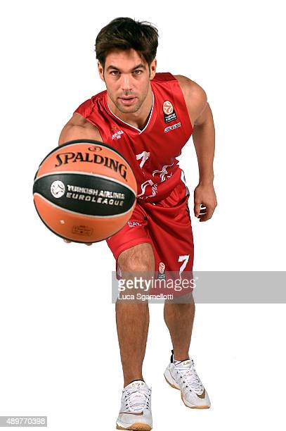 Bruno Cerella #7 of EA7 Emporio Armani Milan poses during the 2015/2016 Turkish Airlines Euroleague Basketball Media Day at Mediolanumforum on...