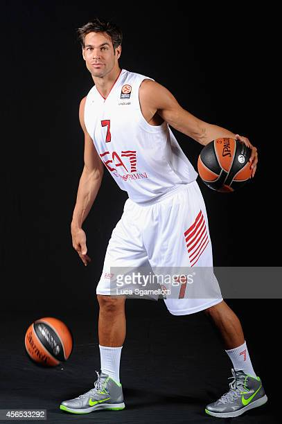 Bruno Cerella #7 of EA7 Emporio Armani Milan poses during the EA7 Emporio Armani Milan 2014/2015 Turkish Airlines Euroleague Basketball Media Day at...