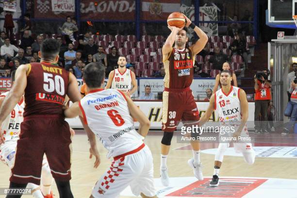 Bruno Cerella and Mitchell Watt of Umana cmpetes with Cesare Barbon and Federico Onuoha of The Flexx during the LBA Legabasket of Serie A match...