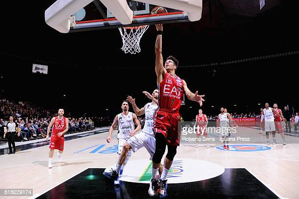 Bruno Cerella of EA7 competes with Michele Vitali of Obiettivo Lavoro during the LegaBasket match between Virtus Obiettivo Lavoro and EA7 Emporio...