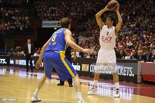 Bruno Cerella of EA7 Emporio Armani Milan in action during the Turkish Airlines Euroleague Basketball Play Off Game 1 between EA7 Emporio Armani...