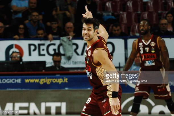 Bruno Cerella of Umana celebrates during the LBA Legabasket of Serie A match between Reyer Umana Venezia and Olimpia The Flexx Pistoia at Palasport...