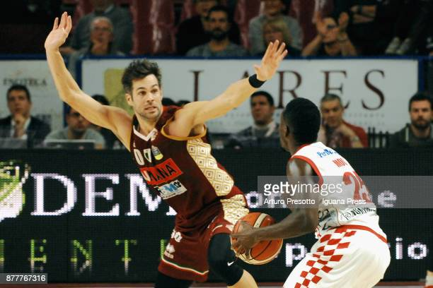 Bruno Cerella of Umana competes with Jamon Gordon of The Flexx during the LBA Legabasket of Serie A match between Reyer Umana Venezia and Olimpia The...