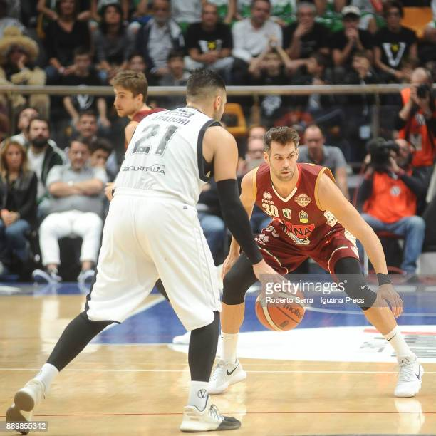 Bruno Cerella of Umana competes with Pietro Aradori of Segafredo during the LBA LegaBasket of Serie A match between Virtus Segafredo Bologna and...