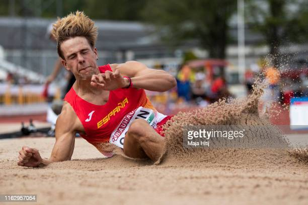 Bruno Comin of Spain competes during Decathlon Long Jump on July 19, 2019 in Boras, Sweden.