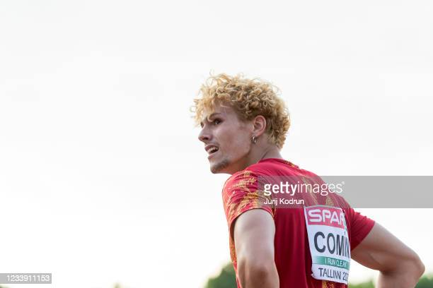 Bruno Comin of Spain reacts after Men's Decathlon 400m during 2021 European Athletics U23 Championships - Day 3 at at Kadriorg Stadium on July 10,...