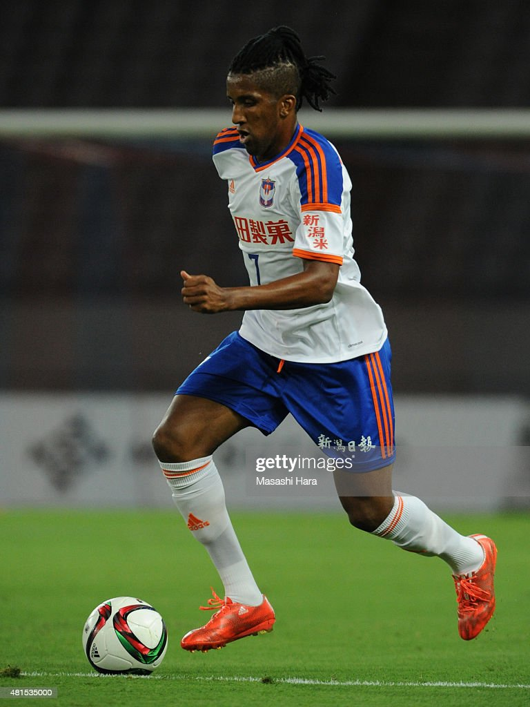 Bruno Cortes Barbosa of Albirex Niigata in action during the J.League match between FC Tokyo and Albirex Niigata at Ajinomoto Stadium on July 15, 2015 in Chofu, Tokyo, Japan.