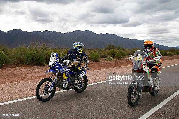 Bruno Costa Da of France riding on and for YAMAHA 450 YZF YAMAHA HFP LA COMPAGNIE DU LIT and Laia Sanz of Spain riding on and for KTM 450 RALLY...