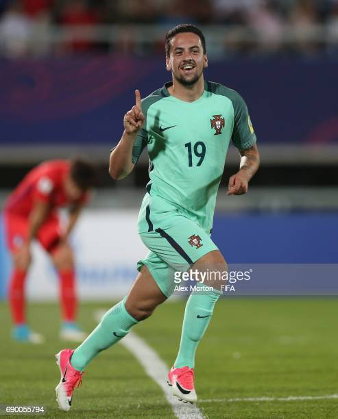 Bruno Costa of Portugal celebrates after scoring their second goal during the FIFA U20 World Cup Korea Republic 2017 Round of 16 match between Korea...