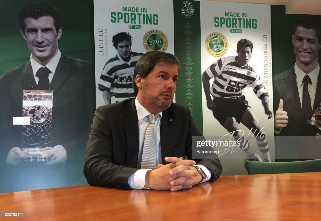 Bruno de Carvalho, president of Sporting Clube de Portugal, speaks during an interview in Lisbon, Portugal, on Friday, April 28, 2017. Portuguese teams breed athletes for the most lucrative leagues in the worlds richest sport and it gives the nation of 10 million with limited domestic income from television rights and merchandising a slice of global soccers riches. Photographer: Henrique Almeida/Bloomberg via Getty Images