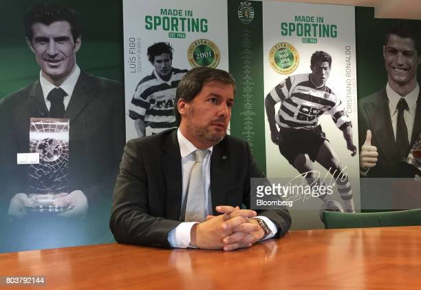 Bruno de Carvalho president of Sporting Clube de Portugal speaks during an interview in Lisbon Portugal on Friday April 28 2017 Portuguese teams...