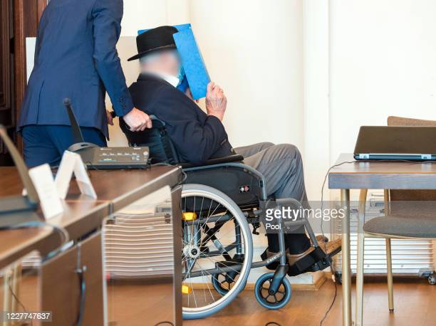 Bruno Dey 93yearold former SS security guard from the Stutthof concentration camp near Gdansk arrives in the courtroom in the regional court on July...