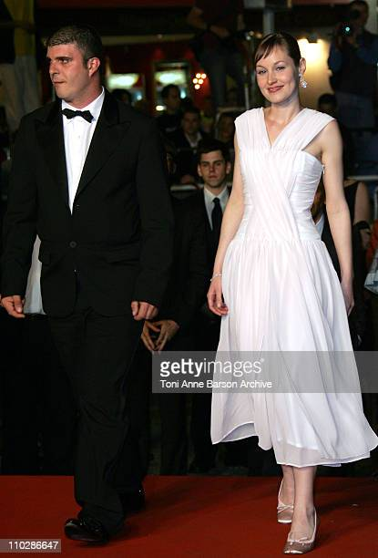 Bruno Dumont and Adelaide Leroux during 2006 Cannes Film Festival Flandres Premiere at Palais des Festival in Cannes France
