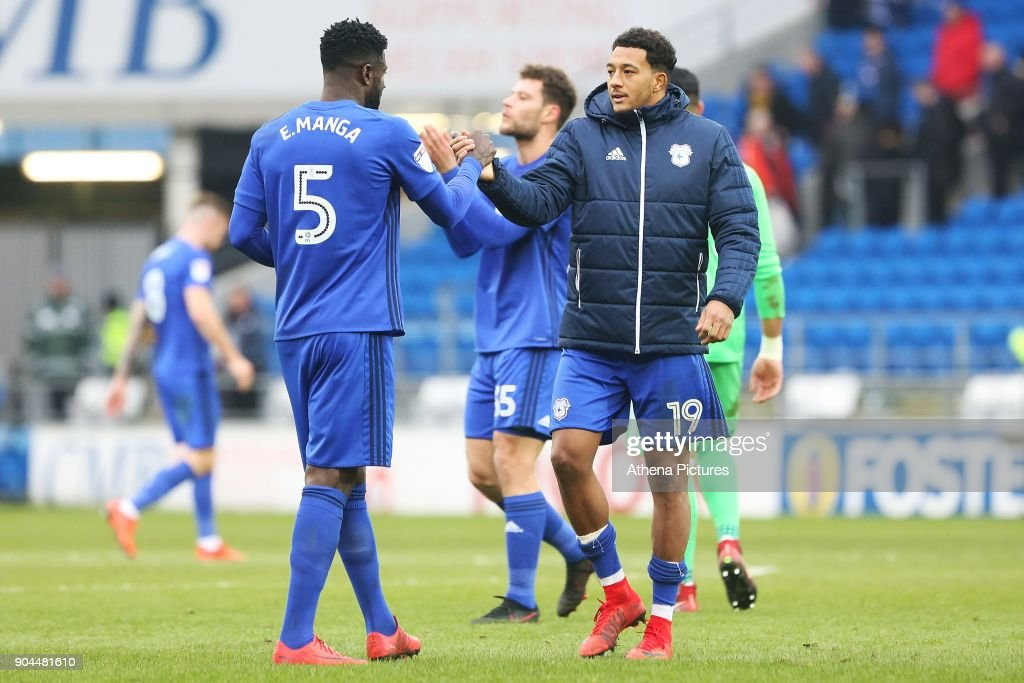 Bruno Ecuele Manga of Cardiff City shakes hands with Nathaniel Mendez-Laing after the final whistle of the Sky Bet Championship match between Cardiff City and Sunderland at the Cardiff City Stadium on January 13, 2018 in Cardiff, Wales.