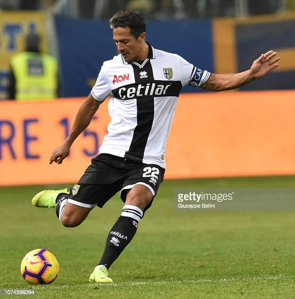 Bruno Eduardo Alves of Parma Calcio in action during the Serie A match between Parma Calcio and Bologna FC at Stadio Ennio Tardini on December 22...