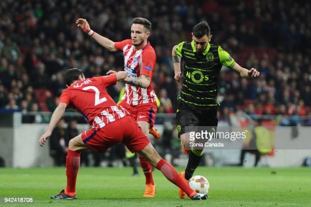 Bruno Fernandes #8 of Sporting CP during the UEFA Europa League Quarter Final Leg One match between Club Atletico Madrid and Sporting CP at Wanda...