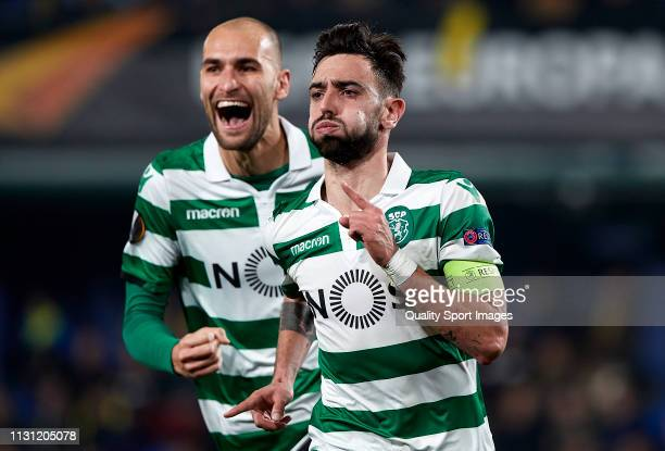 Bruno Fernandes and Bas Dost of Sporting CP celebrating their team opening goal during the UEFA Europa League Round of 32 Second Leg match between...