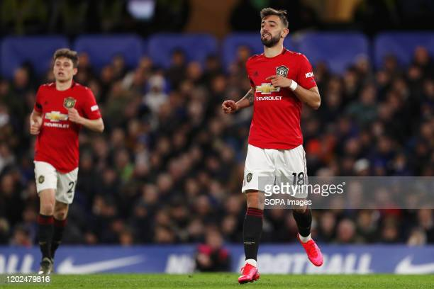 Bruno Fernandes and Daniel James during the Premier League match between Chelsea and Manchester United at Stamford Bridge Final Score Chelsea 02...