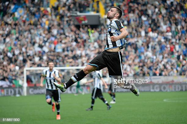 Bruno Fernandes Borges of Udinese Calcio celebrates after scoring his team's second goal during the Serie A match between Udinese Calcio and SSC...