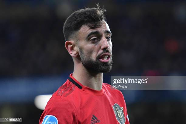 Bruno Fernandes during the Premier League match between Chelsea FC and Manchester United at Stamford Bridge on February 17 2020 in London United...