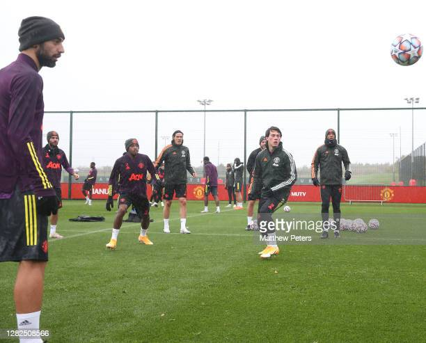 Bruno Fernandes Fred Edinson Cavani Facundo Pellistri Anthony Martial of Manchester United in action during a first team training session ahead of...
