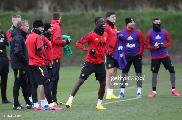 Bruno Fernandes Juan Mata and Eric Bailly of Manchester United in action during a first team training session at Aon Training Complex on March 04...