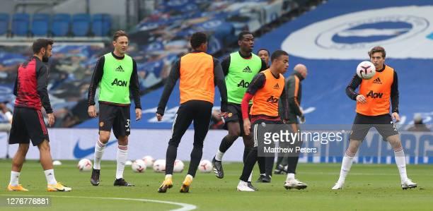 Bruno Fernandes Nemanja Matic Marcus Rashford Paul Pogba Mason Greenwood Victor Lindelof of Manchester United warms up ahead of the Premier League...